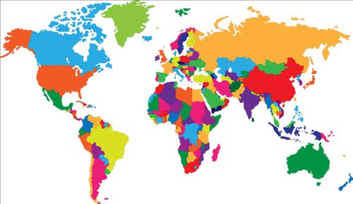 500x289 Color World Map Simple Color World Map Vector 01 Free Download