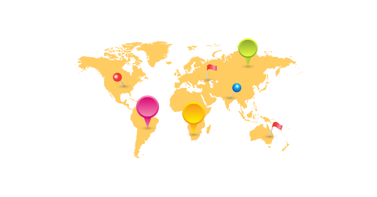 1200x628 World Map With Mark Pins Vector And Transparent Png The