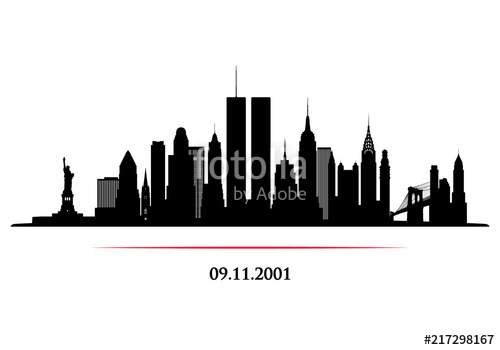 500x350 New York City Skyline With Twins Tower. World Trade Center. 09.11
