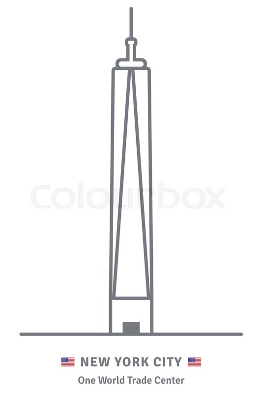 533x800 New York City Line Icon. One World Trade Center Building And Us