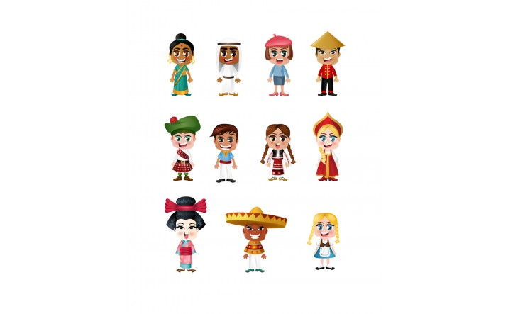 716x443 People Of The World Vector Pack Multinational Traditional Kids