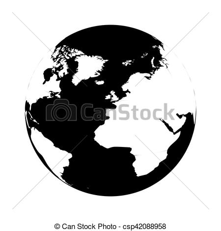 450x470 Silhouette Monochrome With Map Of The World Vector Illustration.