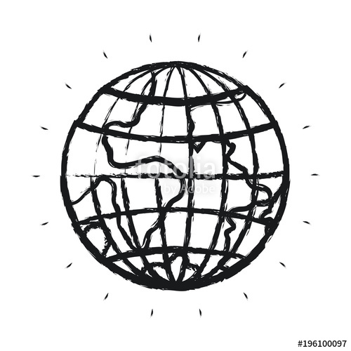 500x500 Blurred Silhouette Front View Globe Earth World Vector