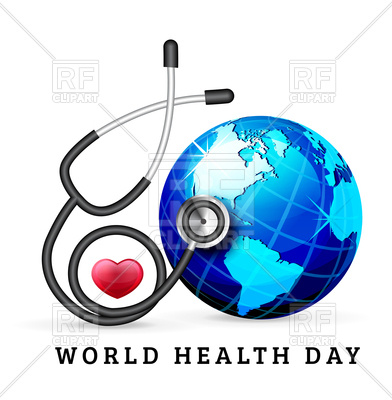 392x400 World Health Day Background With Globe And Stethoscope Vector