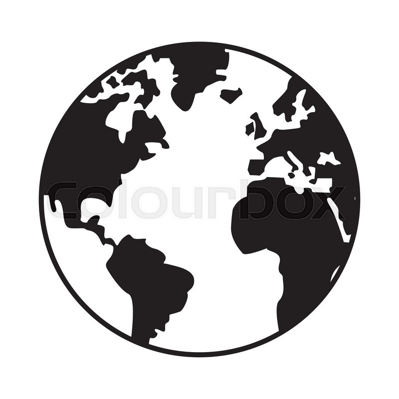 800x800 World Map Globe Earth Icon Isolated Vector Illustration Stock