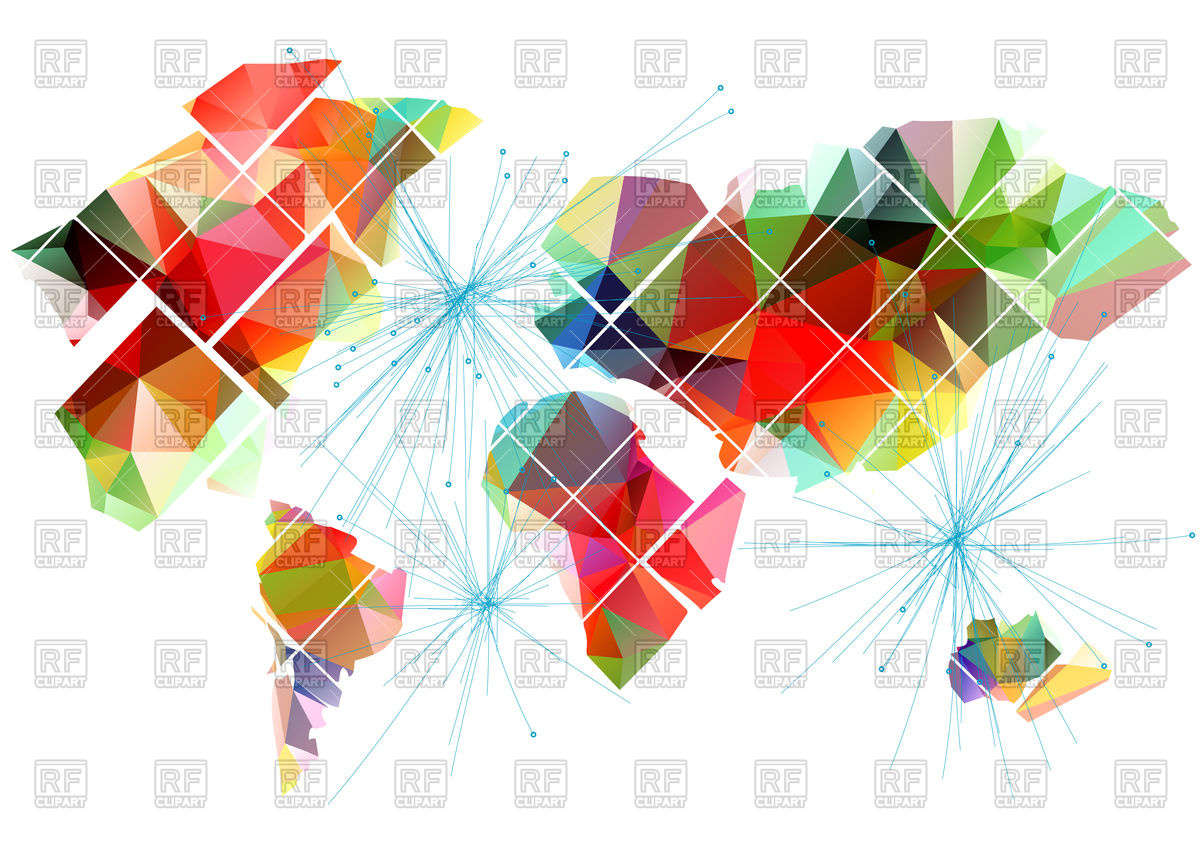 1200x848 Abstract Colorful World Map In Polygonal Style Vector Image