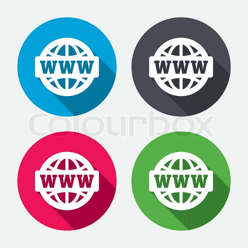 800x800 Www Sign Icon. World Wide Web Symbol. Globe. Circle Buttons With