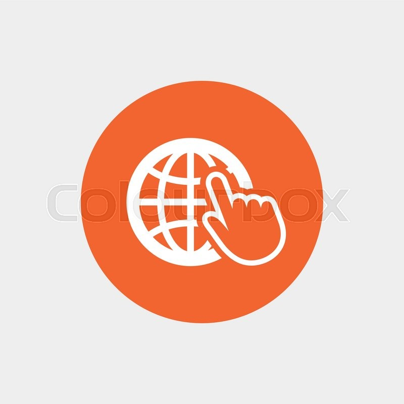 800x800 Internet Sign Icon. World Wide Web Symbol. Cursor Pointer. Orange