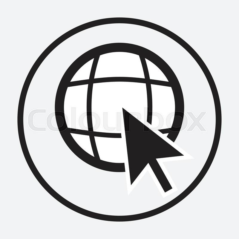 800x800 Web Globe With Arrow Cursor Monochrome. Globe Web And World Wide