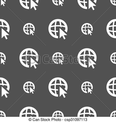 450x470 Internet Sign Icon. World Wide Web Symbol. Cursor Pointer