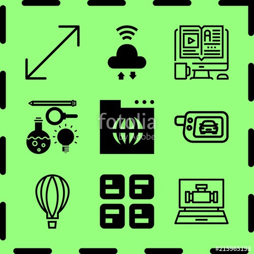 500x500 Simple 9 Icon Set Of Network Related Cloud, Signaling, Elearning