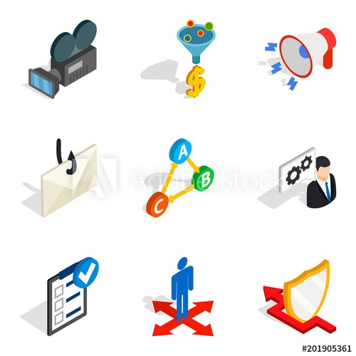 500x500 World Wide Web Icons Set. Isometric Set Of 9 World Wide Web Vector