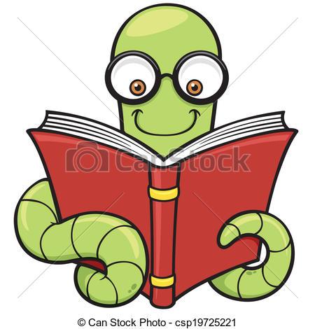 450x470 Book Worm. Vector Illustration Of Cartoon Book Worm.
