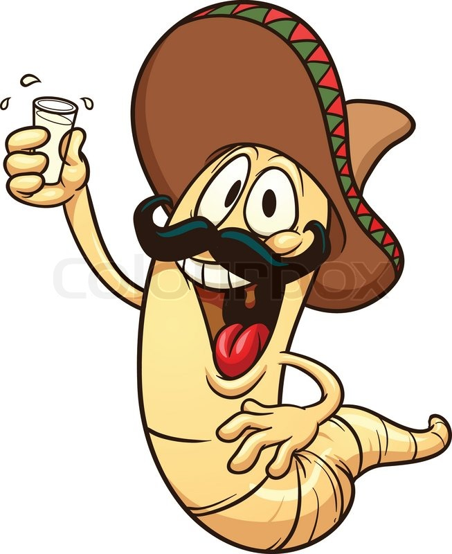 653x800 Cartoon Tequila Worm. Vector Clip Art Illustration With Simple