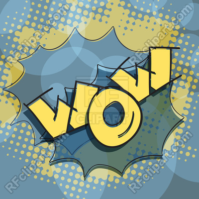 400x400 Wow Hand Lettering Text Pop Art Style Vector Image Vector