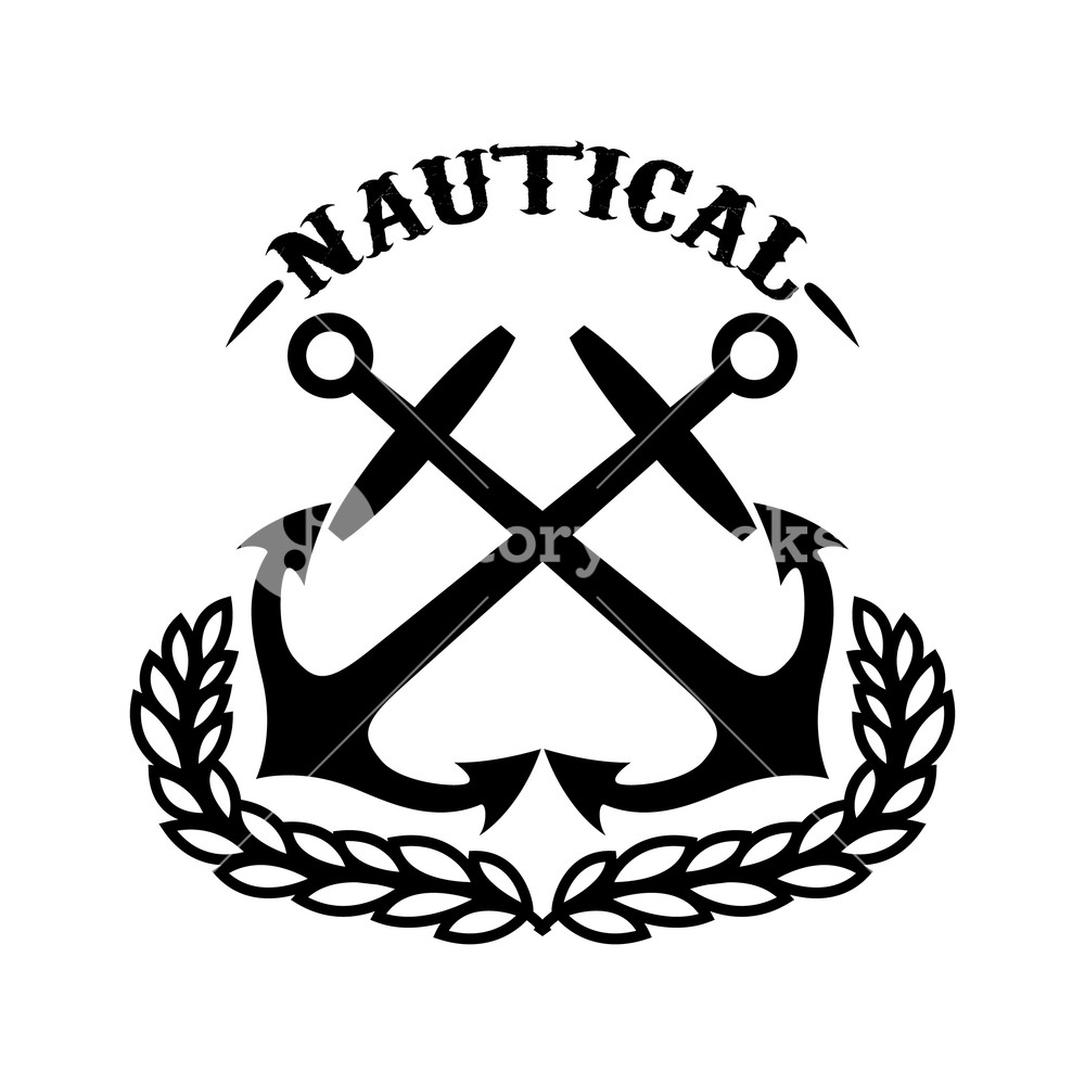 1000x1000 Nautical. Emblem Template With Wreath And Crossed Anchors. Design