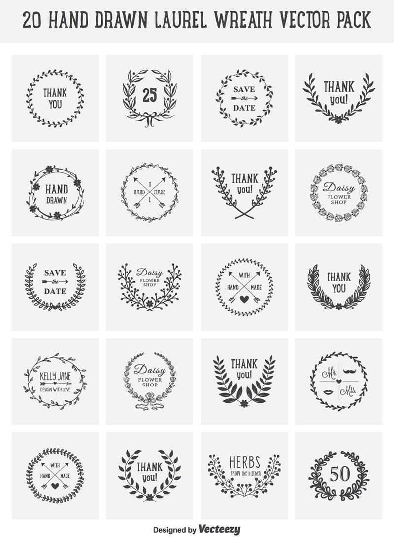800x1094 Free Download 20 Hand Drawn Laurel Wreath Vectors