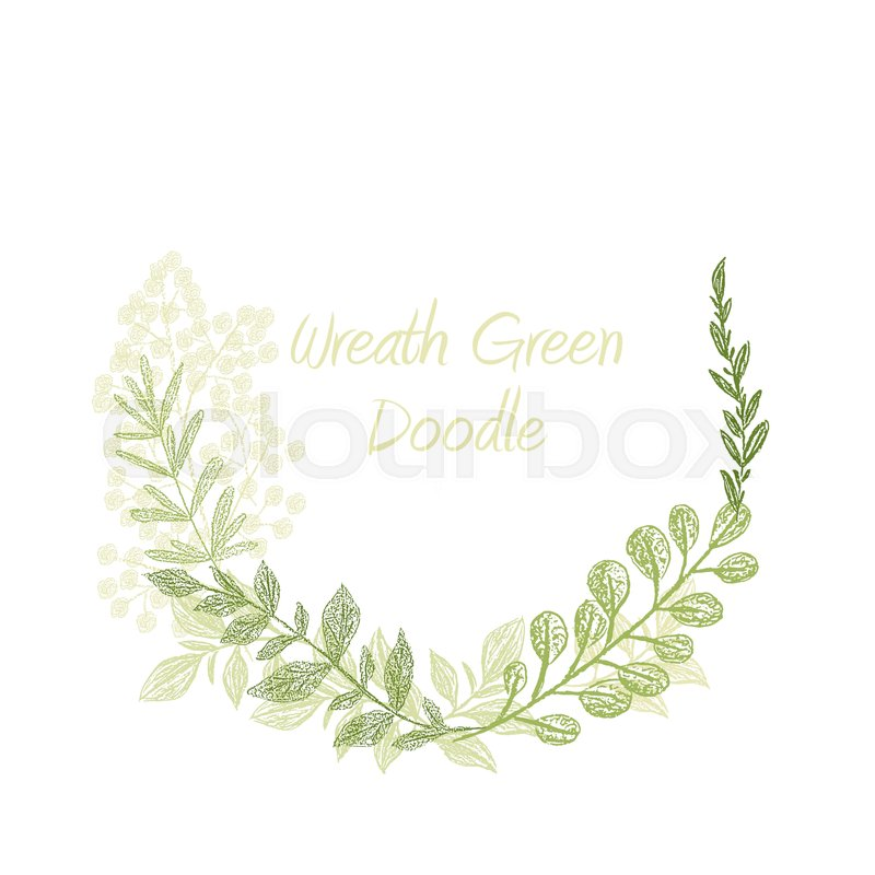 800x800 Greenery Doodle Hand Drawn Floral Wreath Vector, Greeting