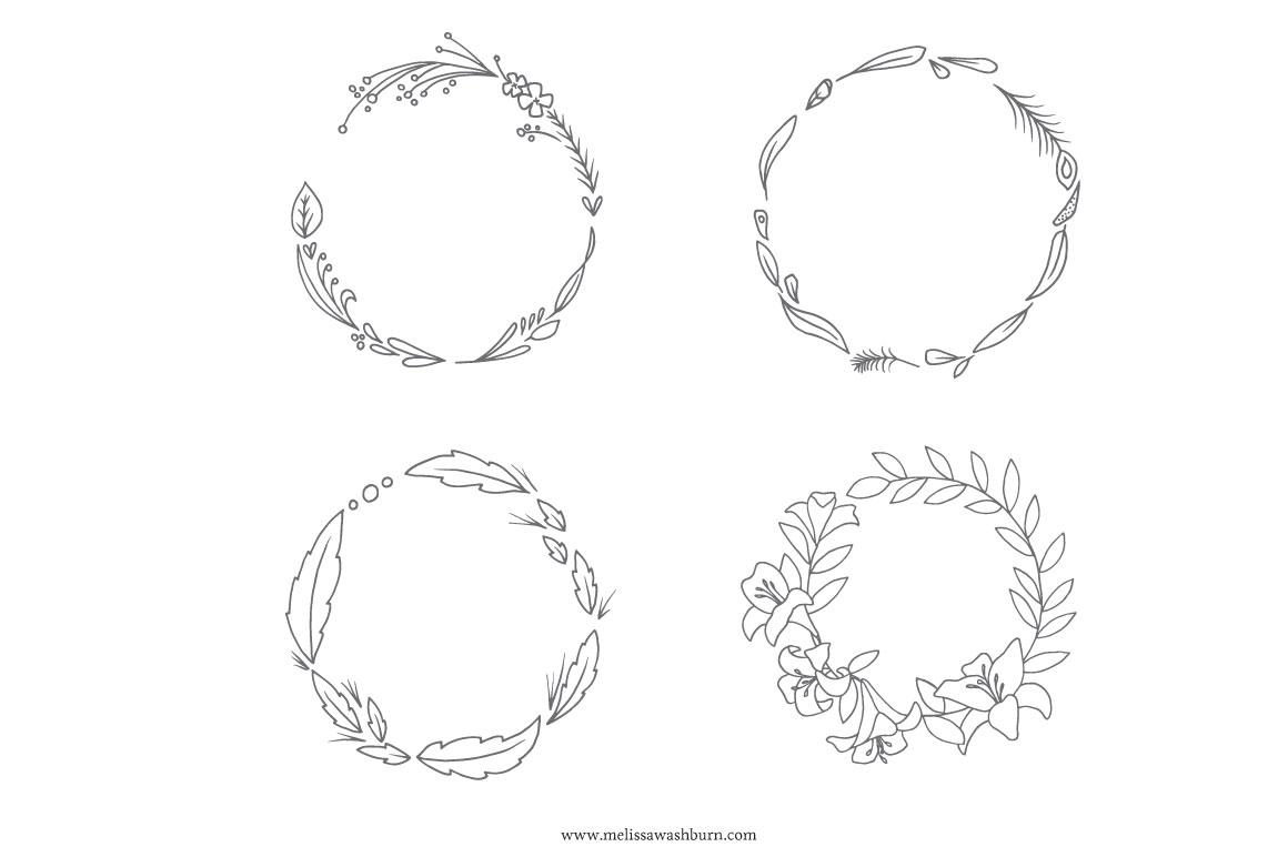1160x772 Hand Drawn Botanical Wreaths