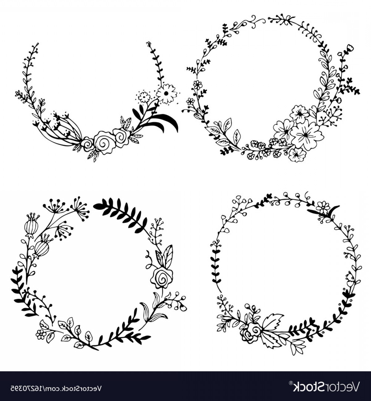 1200x1296 Hand Drawn Set Of Floral Wreaths Vector Shopatcloth