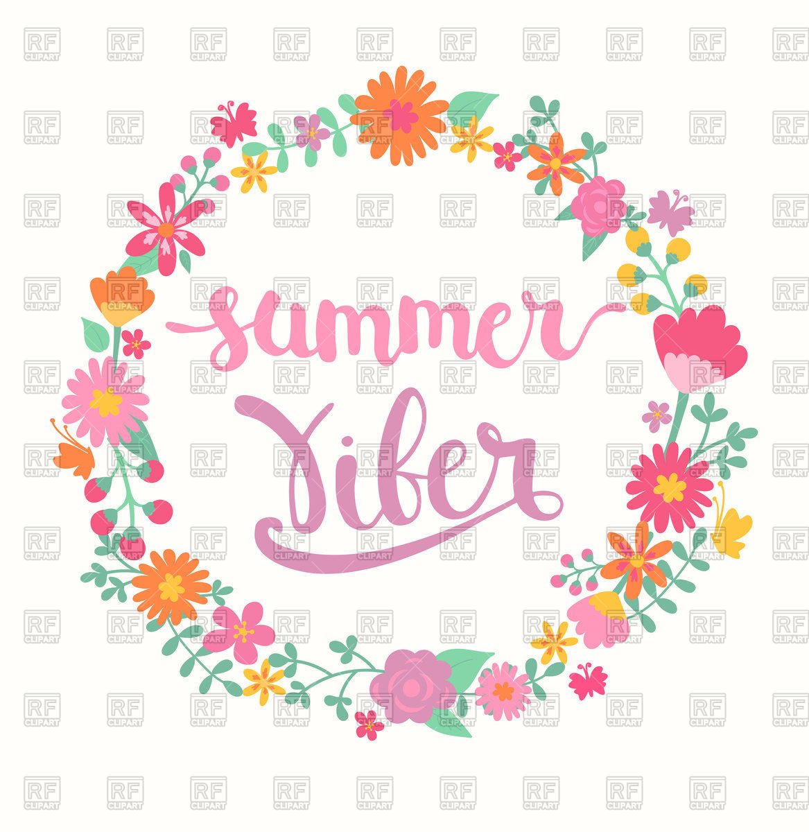 1167x1200 Summer Viber Lettering In Floral Wreath Vector Image Vector
