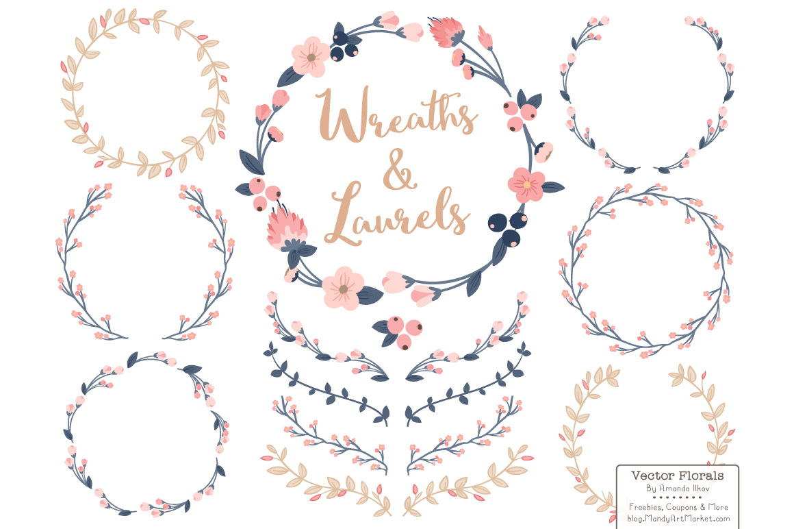 1160x772 Vector Floral Wreath Amp Laurels In Navy Amp Blush By Amanda Ilkov
