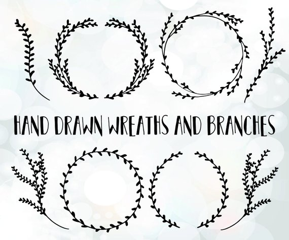 570x473 Branch Svg Files Branch Wreath Vector Branch Clipart File Etsy
