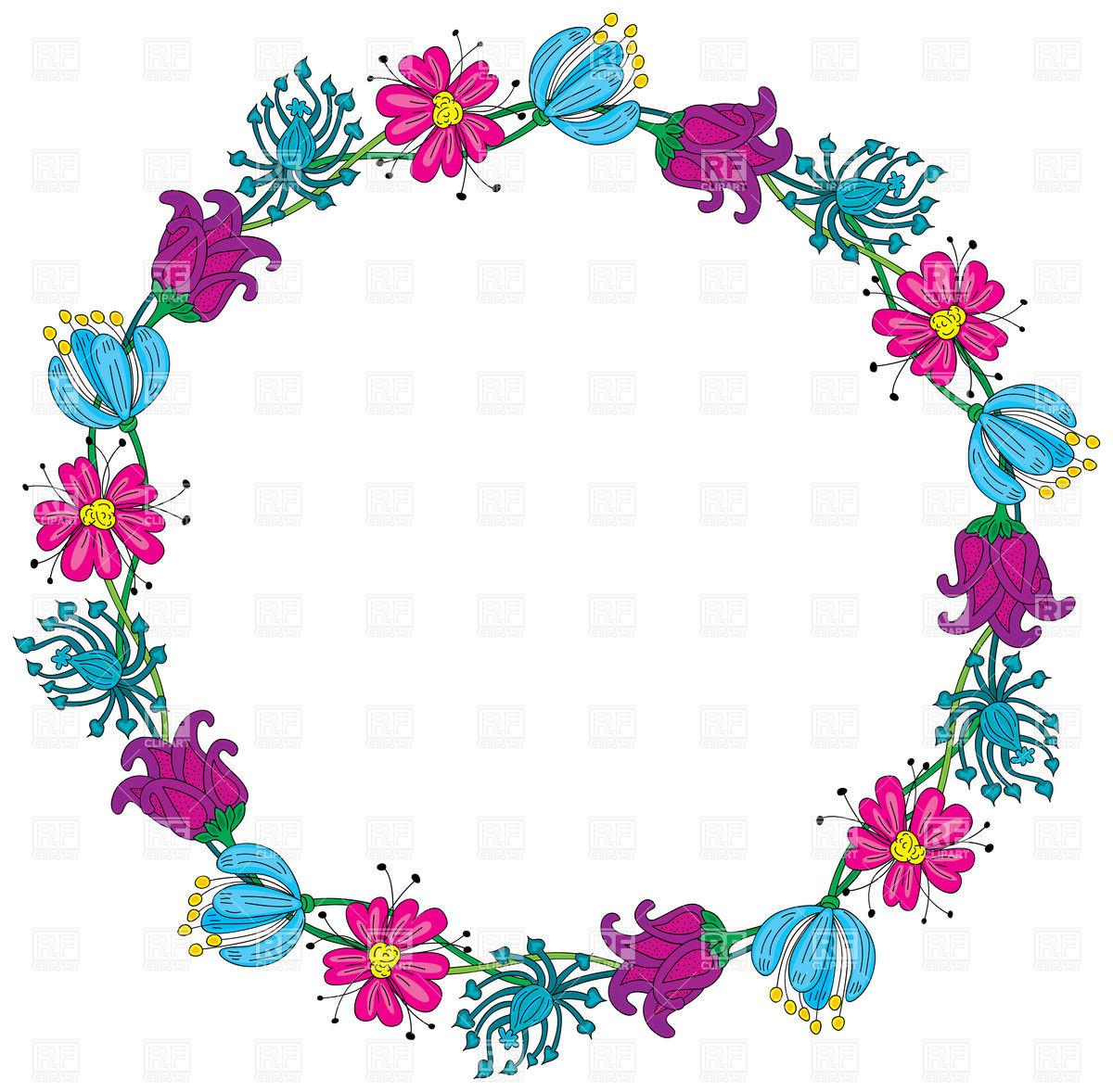 1200x1178 Cartoon Floral Wreath Vector Image Vector Artwork Of Design