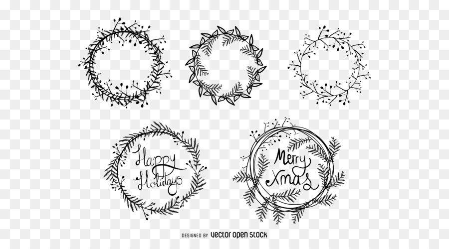 900x500 Christmas Wreath Drawing Illustration