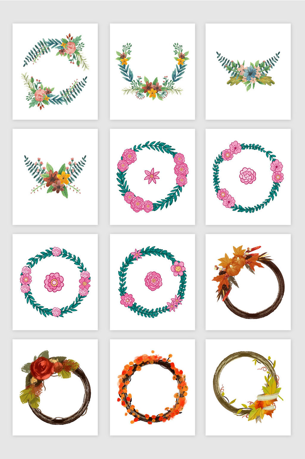 1024x1540 Flowers Wreath Vector Material Free Download Pikbest