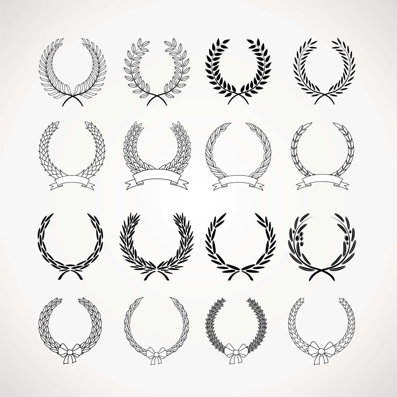 1280x1278 Monochrome Wreaths Set Vector Free Download