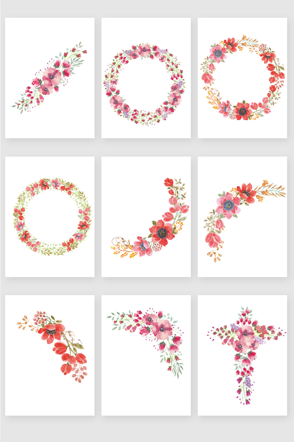 1024x1540 Painted Red Floral Wreath Vector Material Free Download Pikbest