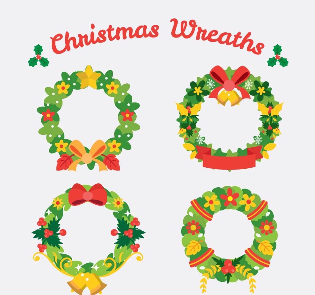 1024x959 Set Of Flat Christmas Wreath Vectors Free Download Eps Files