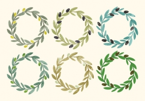285x200 Watercolor Olive Wreath Free Vector Graphic Art Free Download