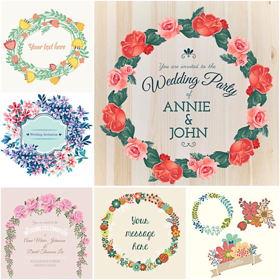 900x900 Wedding Floral Wreath Vector Set Free Download