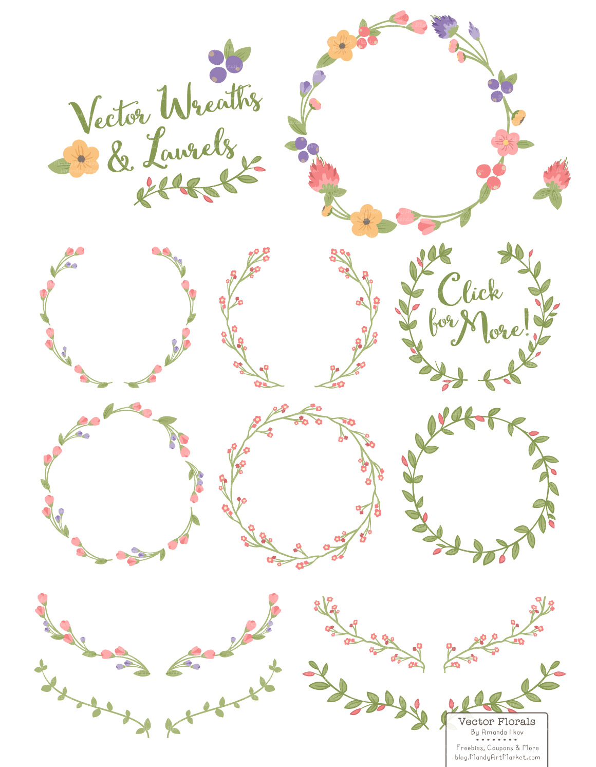 1160x1492 Wildflowers Floral Wreath Vector Set By Amanda Ilkov