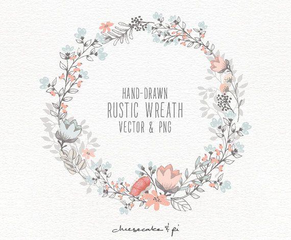570x470 Drawn Wreath Flower Border