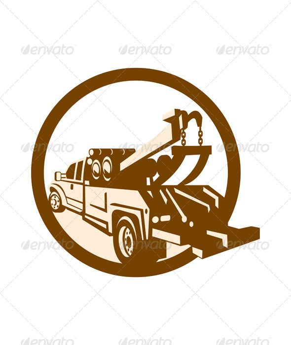 590x700 Tow Truck Wrecker Rear Retro Vector Graphics, Infographics And