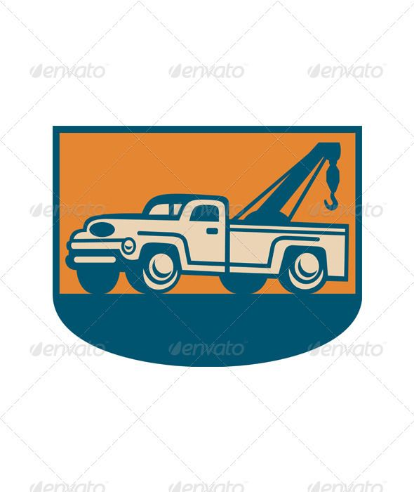 590x700 Vintage Tow Wrecker Pick Up Truck Vector Graphics, Graphics And