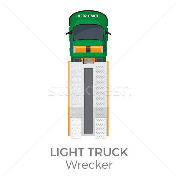600x600 Wrecker Light Truck Top View Flat Vector Icon Vector Illustration