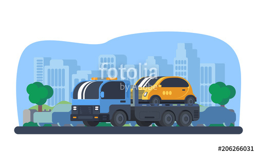 500x300 Wrecker Car In City Stock Image And Royalty Free Vector Files On