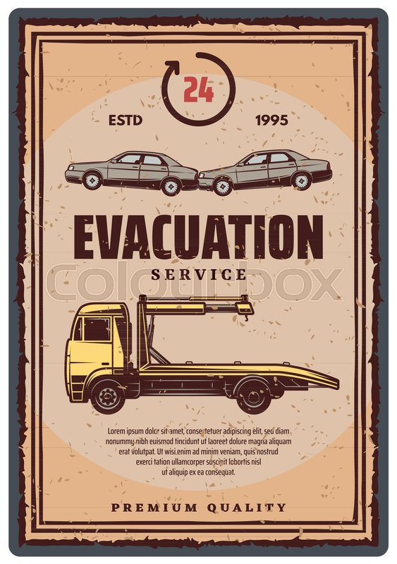 563x800 Wrecker Truck With Evacuated Car Retro Style Poster. Towing Truck