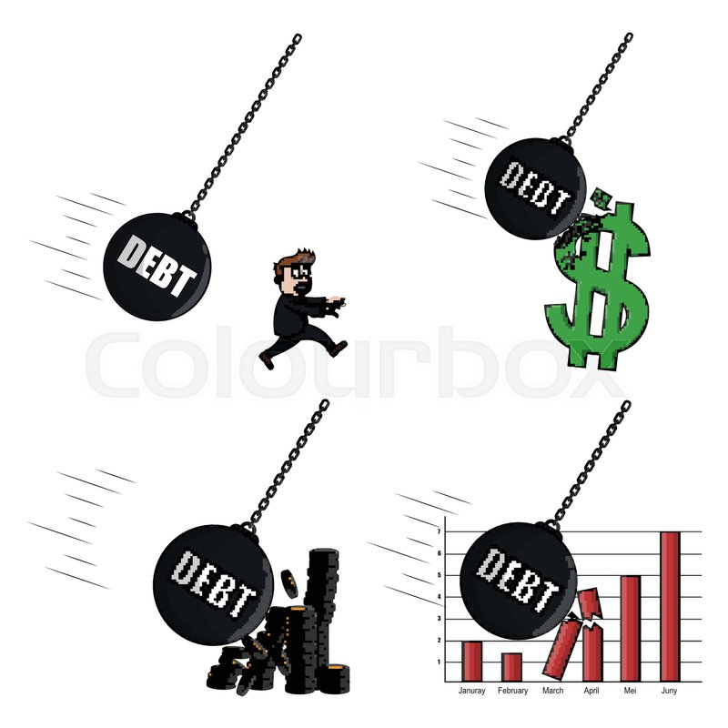 800x800 Businessman Be Pursued Debt Wrecking Ball Stock Vector Colourbox