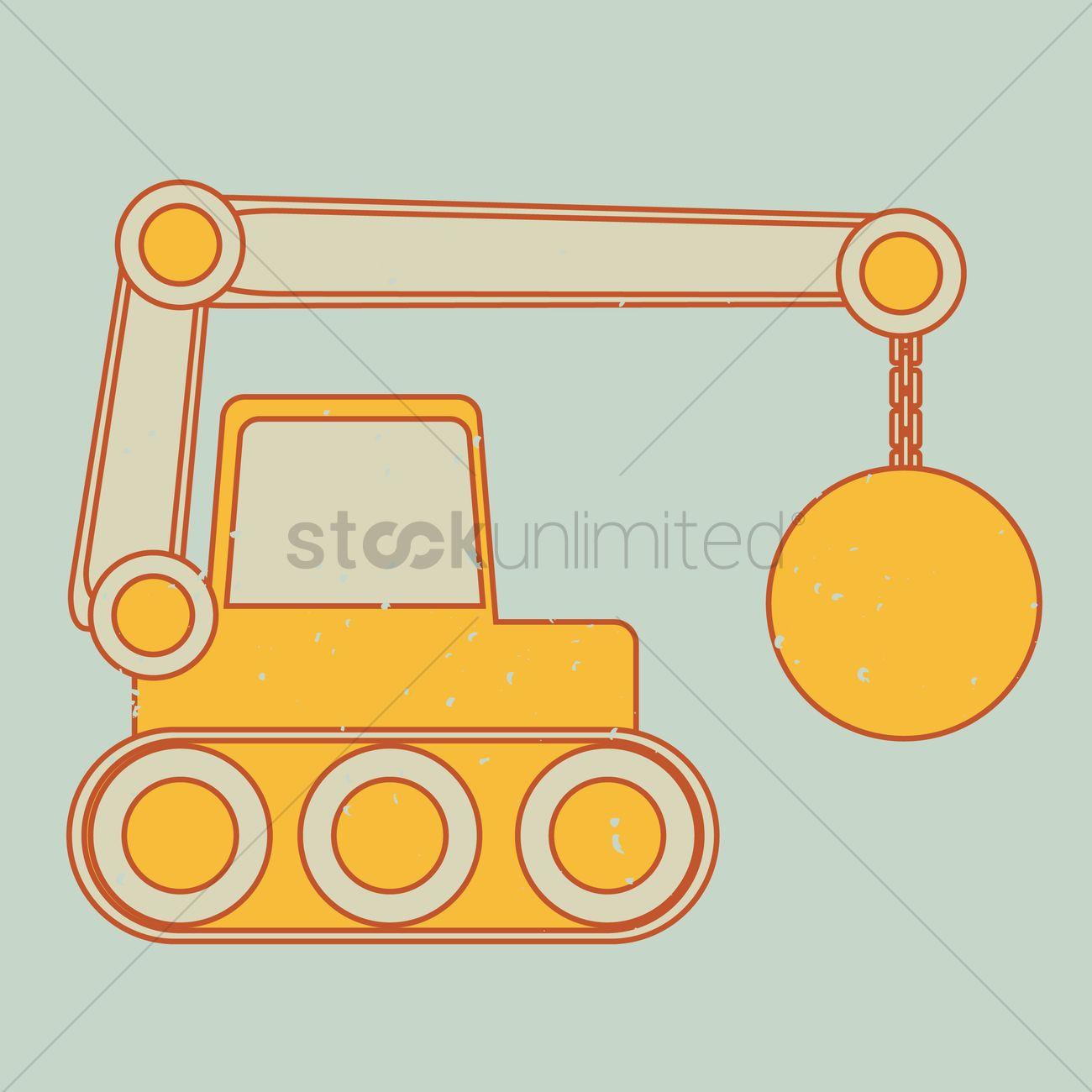 1300x1300 Wrecking Ball Crane Vector Image