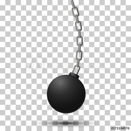 500x500 Wrecking Ball. Demolition Sphere Hanging On Chains. Vector