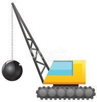 191x200 Crane With Wrecking Ball Vector Icon Stock Vectors