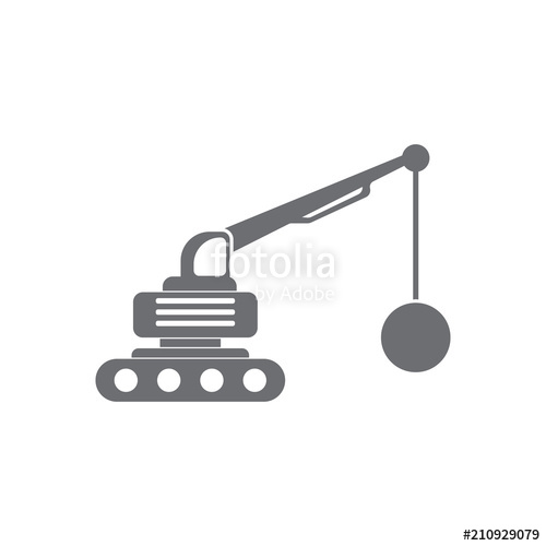 500x500 Crane With Wrecking Ball Icon. Simple Element Illustration. Crane