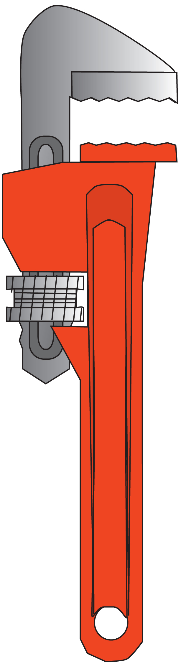 614x2252 Monkey Wrench Vector Clipart
