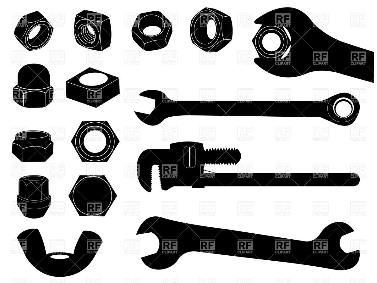 1200x900 Silhouettes Of Screw Nut And Wrench Vector Image Vector Artwork