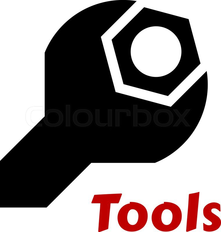 761x800 Black Silhouette Of A Spanner Or Wrench Tool Around A Hexagonal